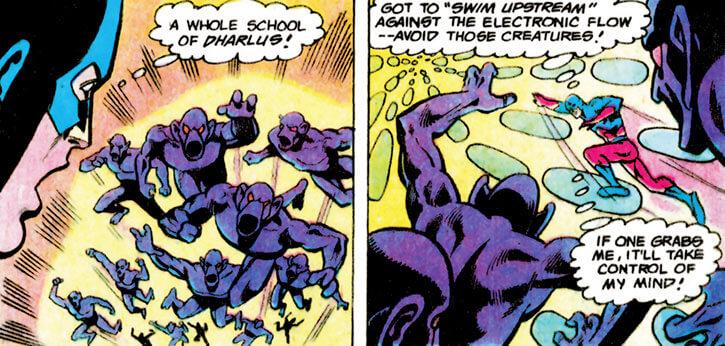 Dharlu (DC Comics) (1970s Justice League of America) babies vs the Atom