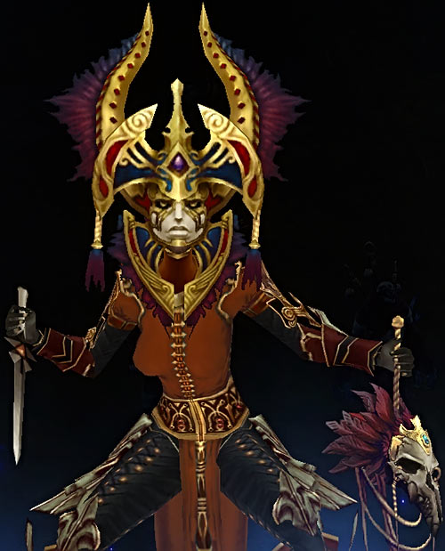 Diablo 3 - Female witch doctor with Carnevil mask