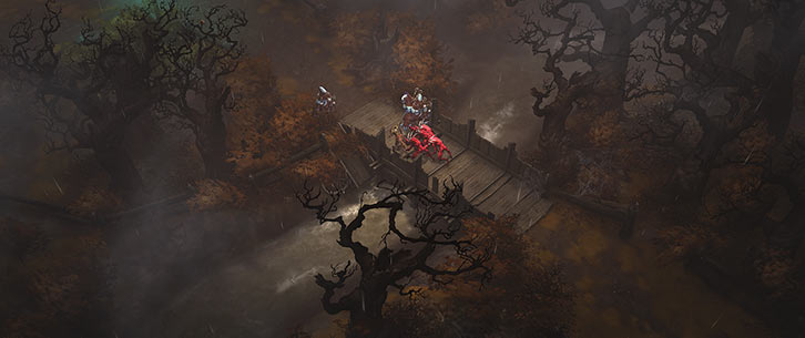 Diablo 3 - Gloomy bridge and forest near Tristram