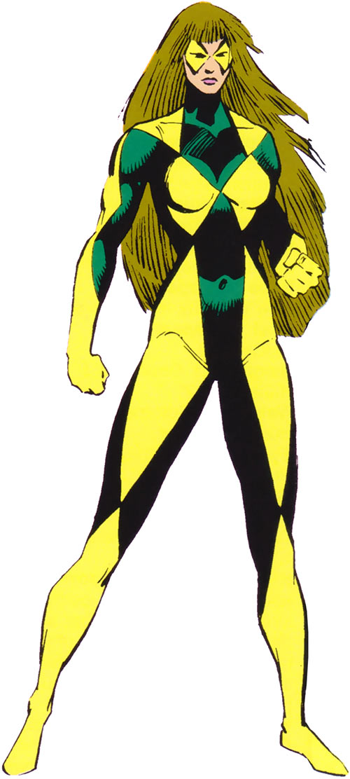 Diamond Lil (Alpha Flight) (Marvel Comics) with the pale yellow and dark green costume
