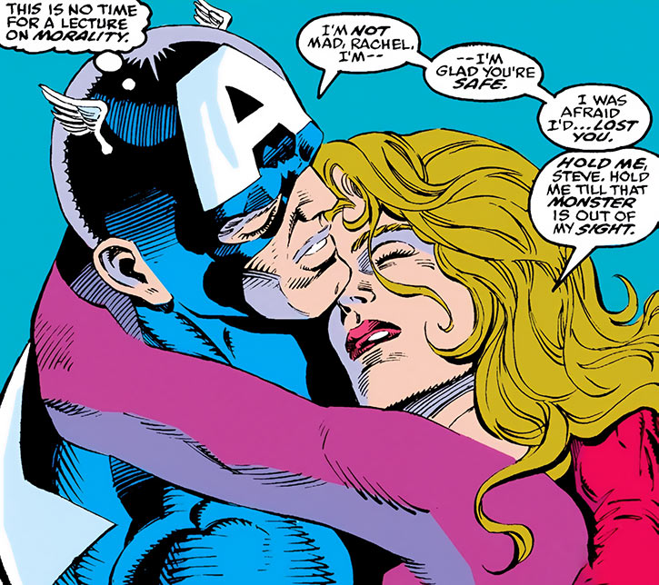 Diamondback (Rachel Leighton) hugs Captain America