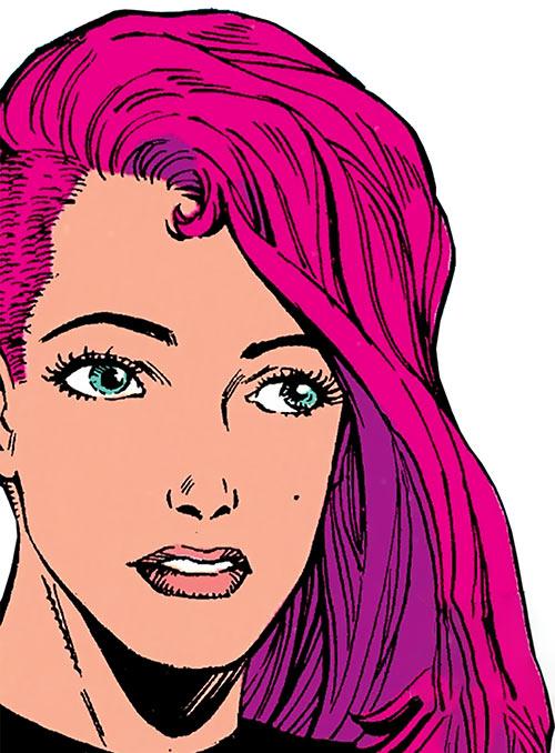 Diamondback (Rachel Leighton) (Captain America ally) (Marvel Comics) Classic Ron Lim face closeup