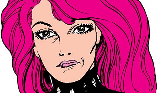 Diamondback (Rachel Leighton) (Captain America ally) (Marvel Comics) Classic pouting face closeup