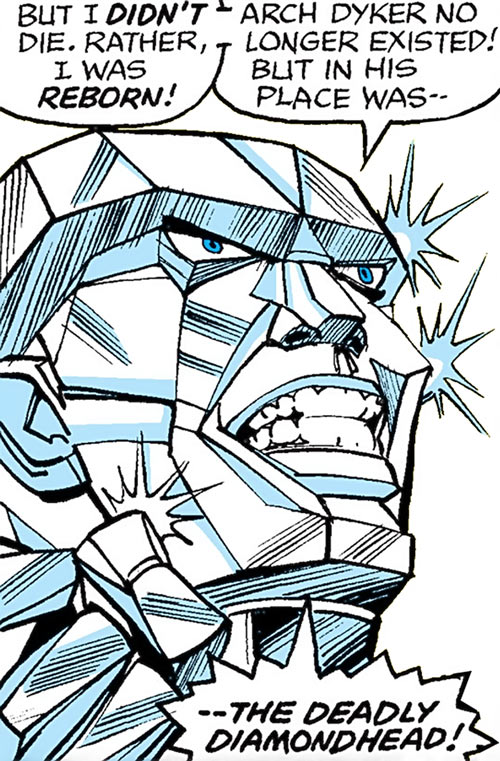 Diamondhead (Nova enemy) (Marvel Comics) face closeup