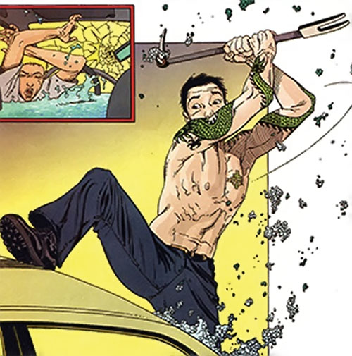 Rush (Diego Zhao) (DC Comics) smashing a windshield with a crowbar