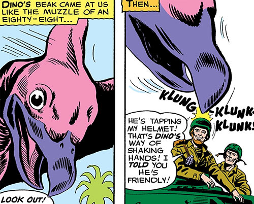 Dino the baby pterosaur (DC Comics) (War that Time Forgot) tapping a soldier's helmet
