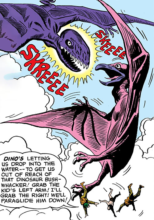 Dino the baby pterosaur (DC Comics) (War that Time Forgot) fighting in the air