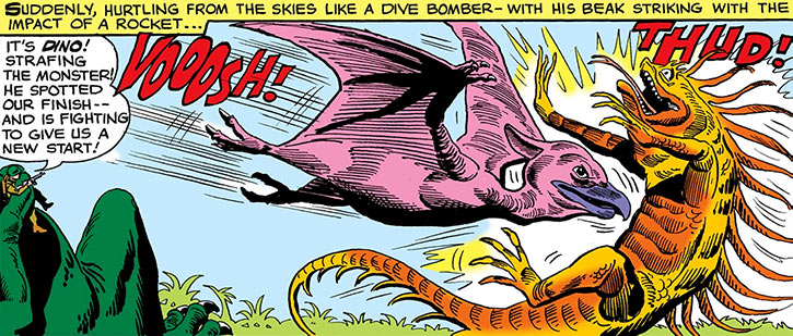 Dino knocks down a giant reptile (DC Comics) (War that time forgot)