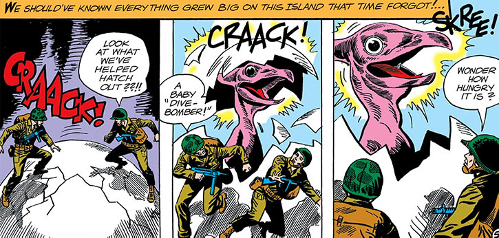 Dino hatches as two soldiers watch (DC Comics) (War that time forgot)