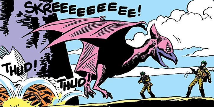 Dino approaches two American soldiers (DC Comics) (War that time forgot)