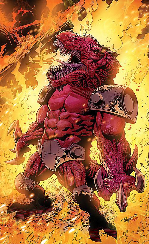 Dinosaurus (Invincible Comics) standing in the fire