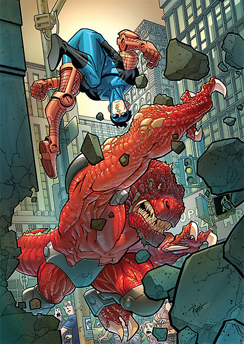 Dinosaurus (Invincible Comics) claws through a wall while fighting a bionically-reinforced Invincible