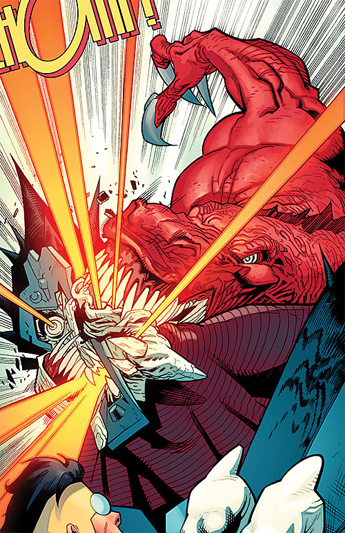 Dinosaurus (Invincible Comics) biting through something