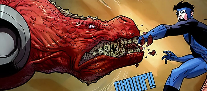 Dinosaurus bites Invincible's hand
