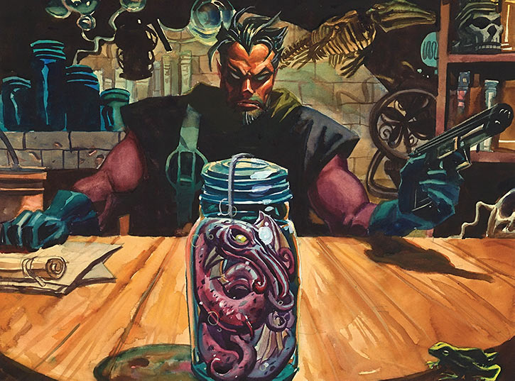 Doc Horror of the Nocturnals (Dan Brereton comics) with a bottled Crim alien