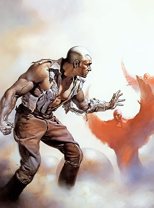 Doc Savage faces winged bald men, by Boris Vallejo