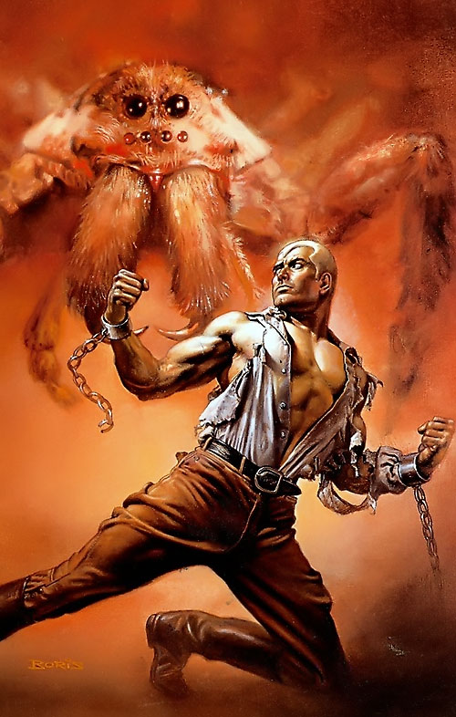 Doc Savage threatened by a gigantic spider while in chains, by Boris Vallejo