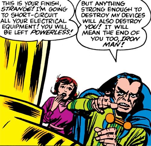 Doctor Carlo Strange (Marvel Comics) (Tales of Suspense) facing Iron Man