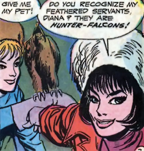 Doctor Cyber (Wonder Woman enemy) (DC Comics) with a pet falcon in winter