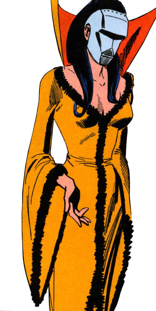 Doctor Cyber (Wonder Woman enemy) (DC Comics) - orange neglige and metallic mask