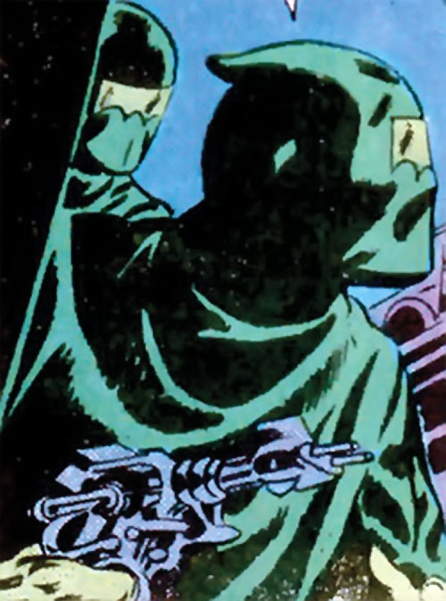 Doctor Cyber (Wonder Woman enemy) (DC Comics) - green-robed markswoman with laser pistol