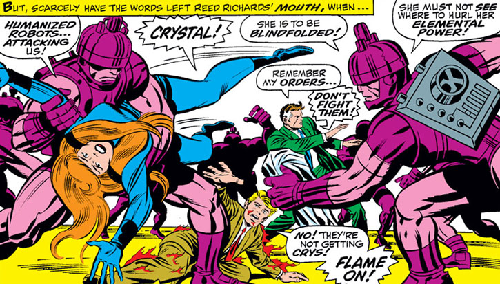 Doctor Doom's guardian robots attack the Fantastic Four