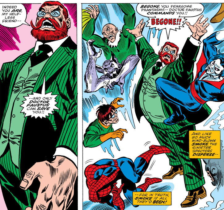Doctor Faustus disperses an illusion plaguing Spider-Man