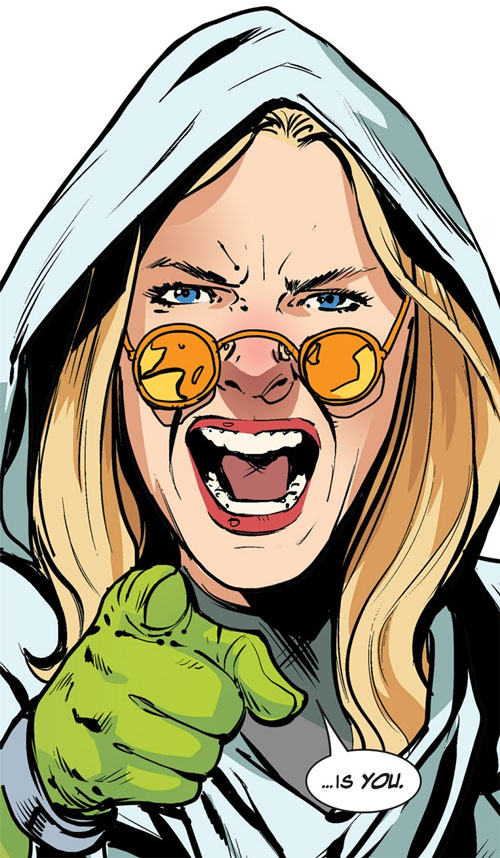Dr. June Covington (Toxic Doxie) (Avengers / Thunderbolts enemy) (Marvel Comics) face closeup accusing