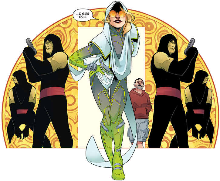 Dr. June Covington (Toxic Doxie) (Avengers / Thunderbolts enemy) (Marvel Comics) with henchmen