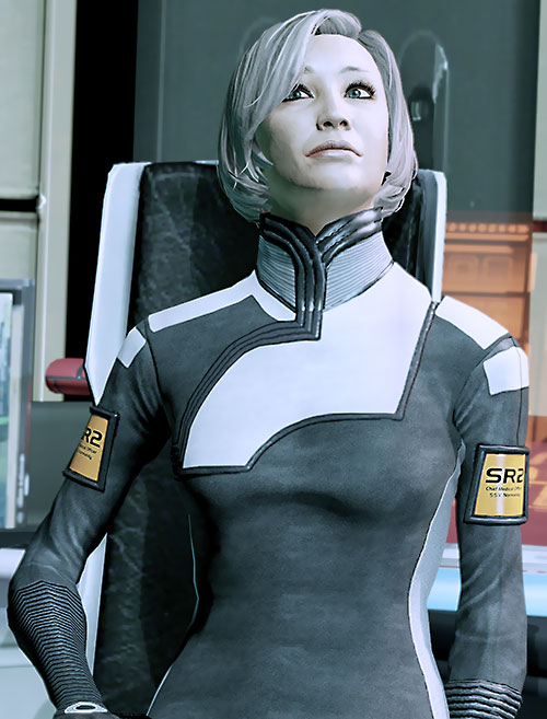 Dr. Chakwas (Mass Effect) with her head tilted back