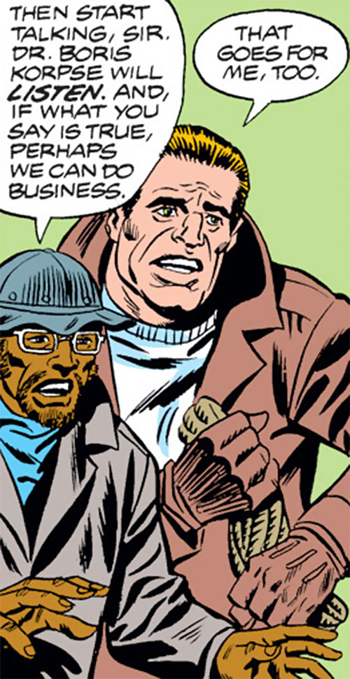 Boris Korpse and Bruno Grainger (Spider-Man enemies) (Marvel Comics) negotiating