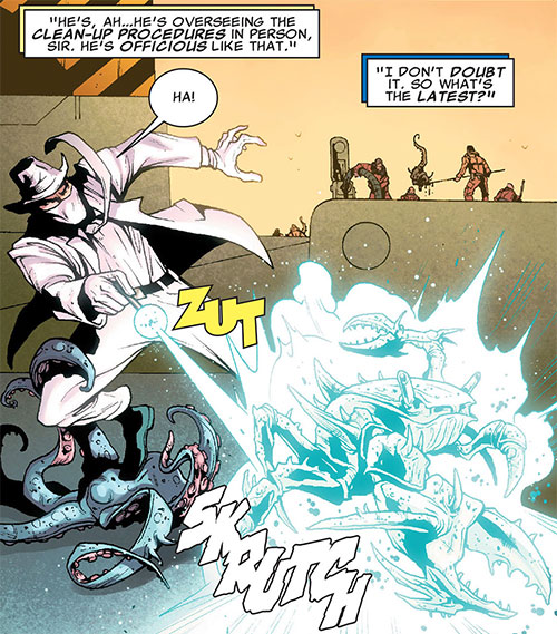 Doctor Nemesis of the X-Club and X-Men (Marvel Comics) battling mutated sea life