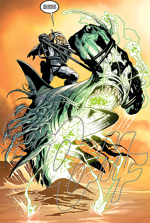 Doctor Nemesis of the X-Club and X-Men (Marvel Comics) riding a mutated shark