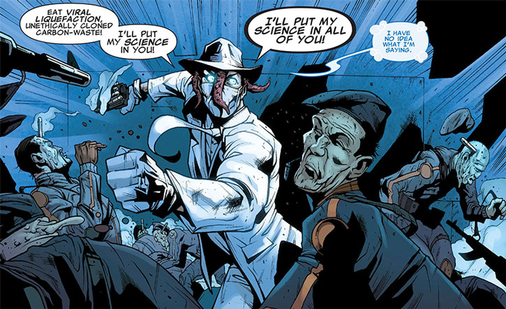 Doctor Nemesis fights evil clones and will put his science in all of them
