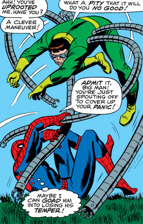Doctor Octopus (Marvel Comics) wrestles with Spider-Man