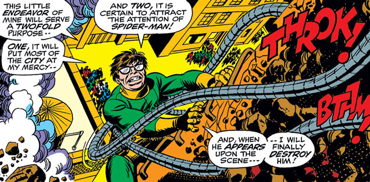 Doctor Octopus climbs up a structure