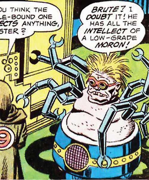 Doctor Spider (Sandman enemy) (DC Comics Kirby) near a computer and henchman