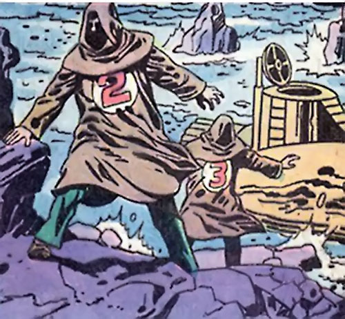 Doctor Spider (Sandman enemy) (DC Comics Kirby) henchmen and submarine on a craggy coast