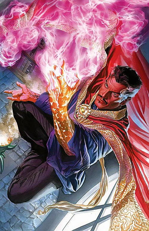 Doctor Strange (Marvel Comics) by Alex Ross, casting a pink spell