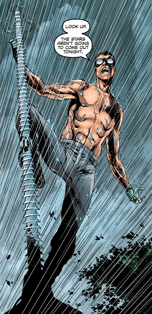 Doktor Sleepless (Ellis Avatar Comics) shirtless under rain climbing lightning rod