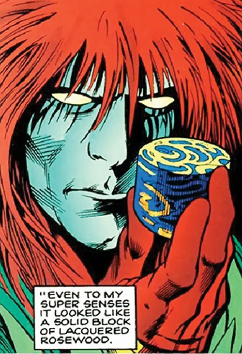 Dominic Destine of Clan Destine (Marvel Comics) examining painted wood