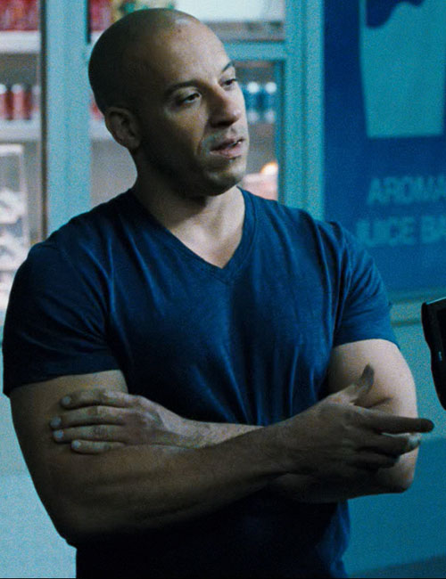 Dominic Toretto (Vin Diesel in Fast and Furious) looking muscular