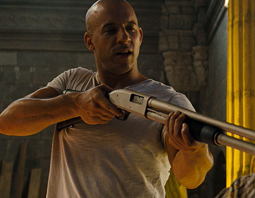 Dominic Toretto (Vin Diesel in Fast and Furious) with a pump gun