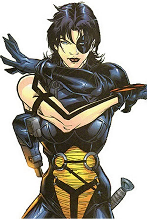 Domino of X-Force (Marvel Comics) with her arms crossed