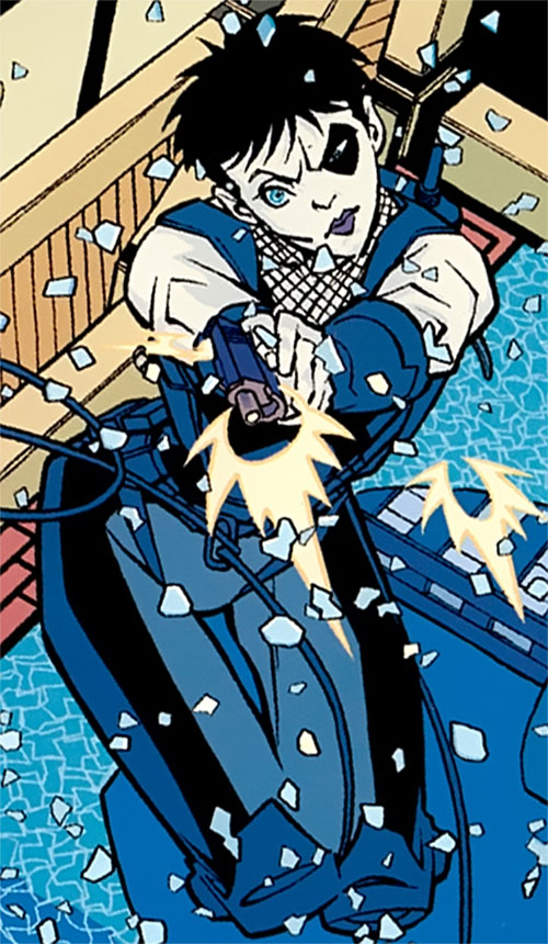 Domino of X-Force (Marvel Comics) shooting while crashing through a window