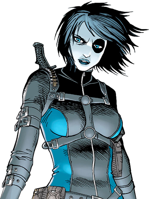 Domino of X-Force (Marvel Comics) in a blue and gray jumpsuit