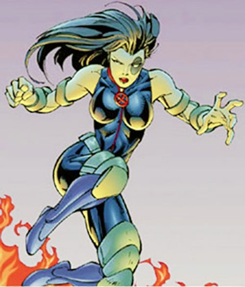 Domino of X-Force (Marvel Comics) in mid-leap