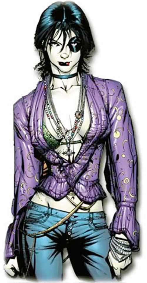 Domino of X-Force (Marvel Comics) in an open blouse, skinny jeans and necklaces