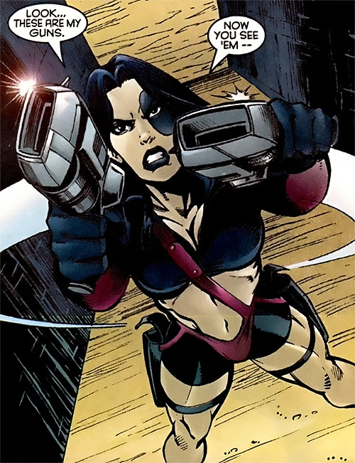 Domino of X-Force (Marvel Comics) drawing two blasters
