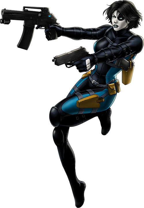 Domino of X-Force (Marvel Comics) dual-wielding guns